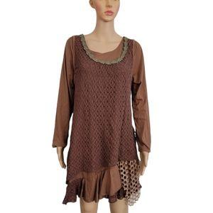 Pretty Angel Dress L Brown Long Sleeve Boho
